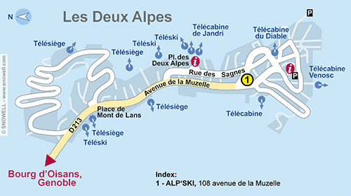 Resort Map Les Deux Alpes