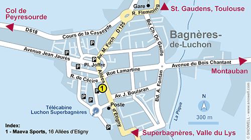 Lageplan Luchon-Superbagnères