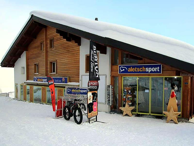 Verleihshop ALETSCH SPORT MITTE, Bahnhofstrasse 6 - Bergstation Luftseilbahn Mörel in Riederalp