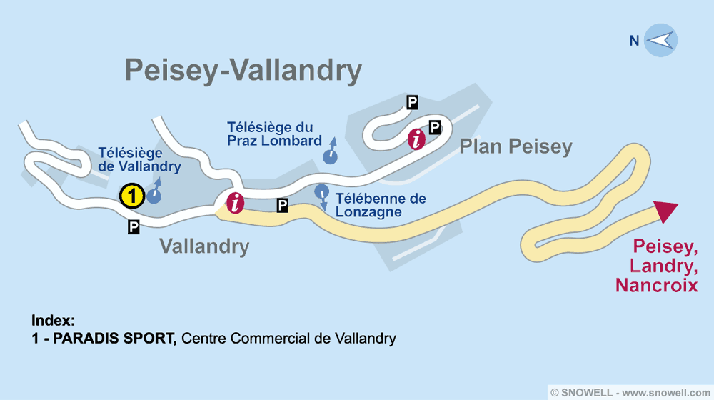 Ski hire shop PARADIS SPORT, Peisey Vallandry in Centre Commercial de Vallandry