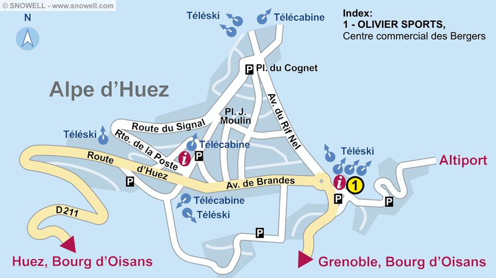 Ski hire shop OLIVIER SPORTS, Alpe d'Huez in Centre commercial des Bergers