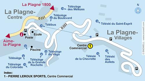 Resort Map La Plagne - Villages