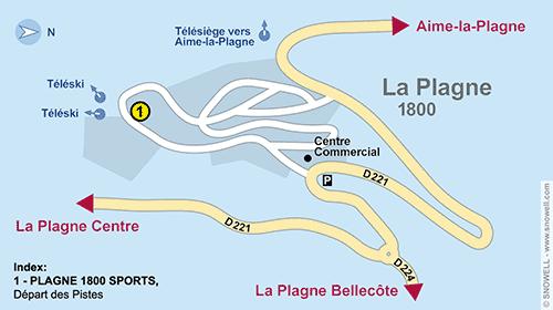 Resort Map La Plagne 1800