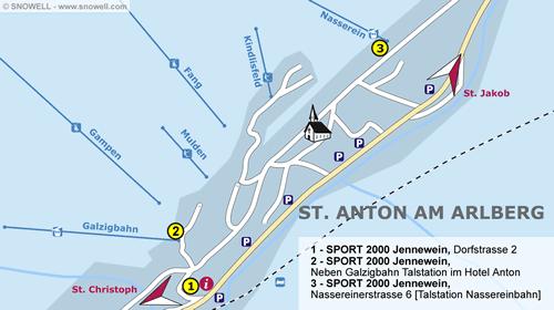Lageplan St. Anton am Arlberg