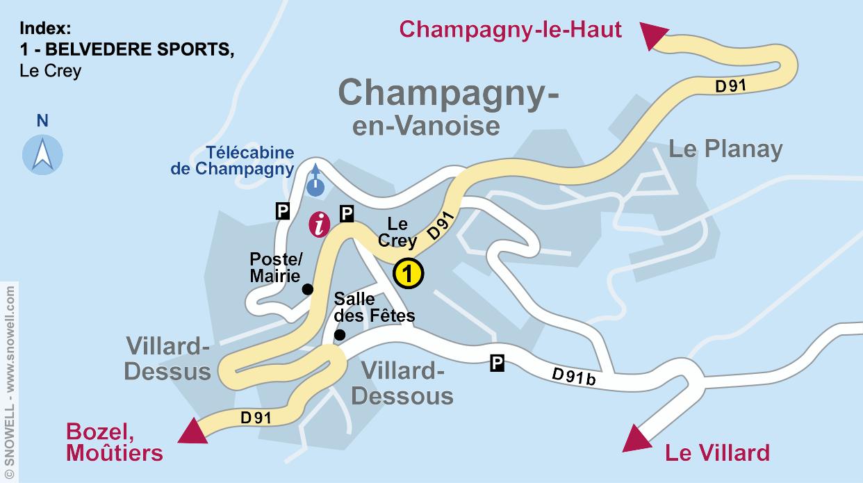 Ski hire shop BELVEDERE SPORTS, Champagny en Vanoise in Le Crey