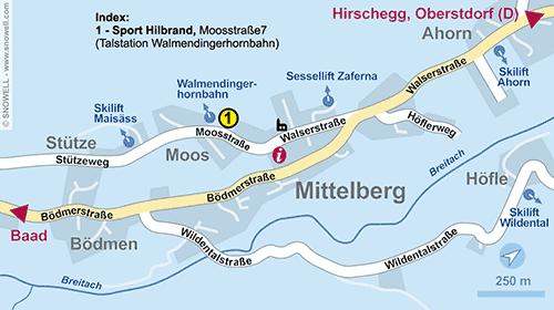 Lageplan Kleinwalsertal - Mittelberg
