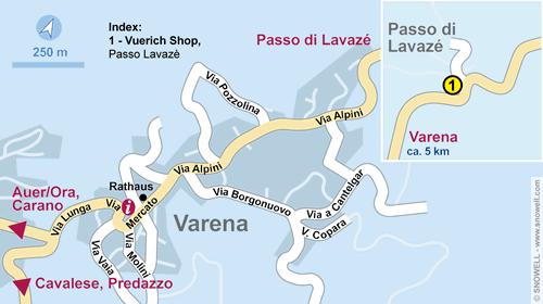 Lageplan Varena - Passo Lavazè