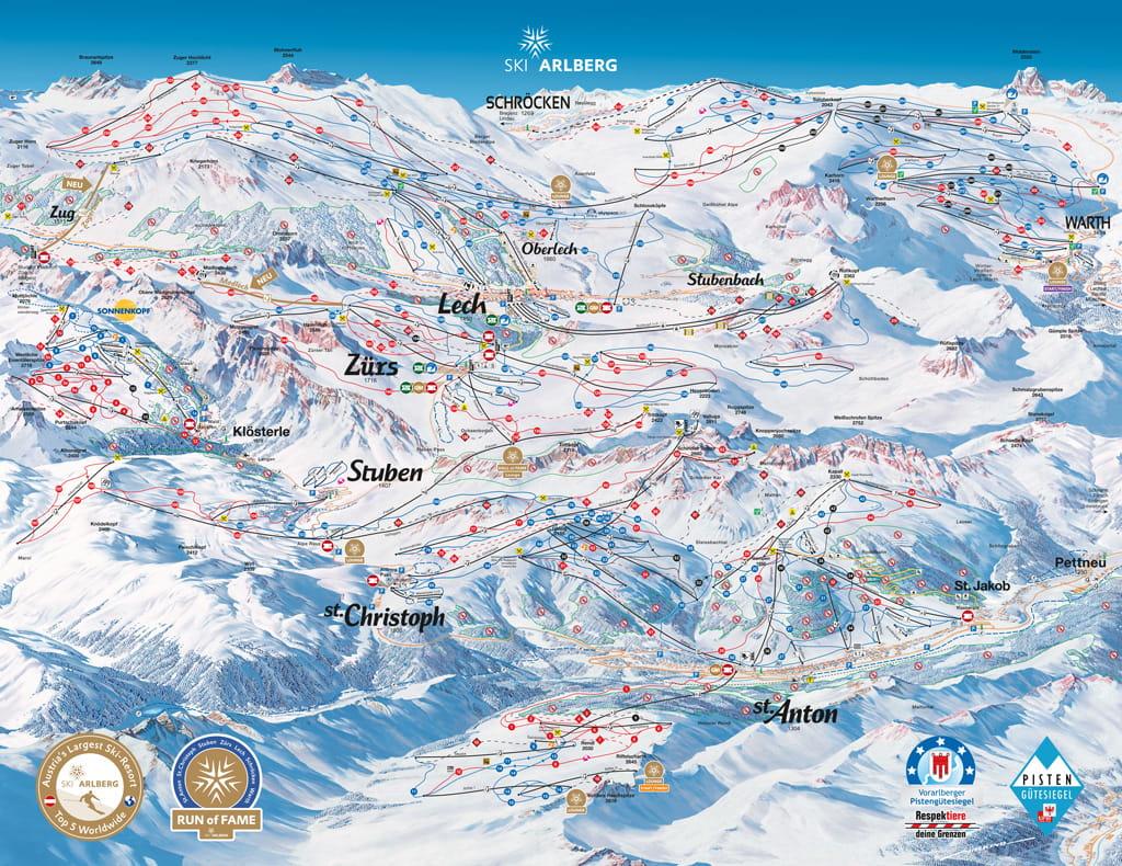 Skimap St. Anton am Arlberg