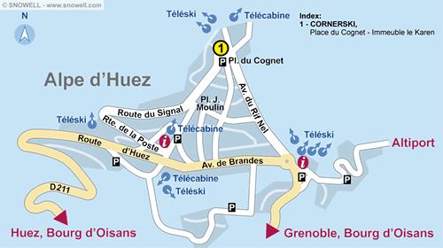 Lageplan Alpe d'Huez