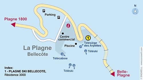 Resort Map La Plagne - Bellecote