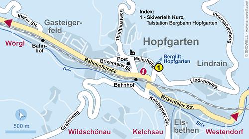 Lageplan Hopfgarten im Brixental