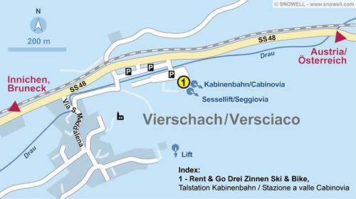 Lageplan Vierschach bei Innichen