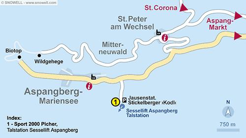 Lageplan Aspangberg - St. Peter