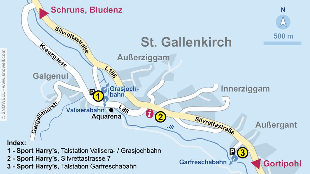 Verleihshop Sport Harry's, St. Gallenkirch in Talstation Valisera Grasjochbahn