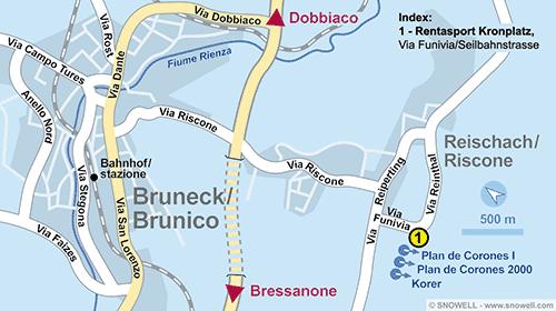 Lageplan Bruneck/Reischach