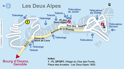 Resort Map Les Deux Alpes 1800