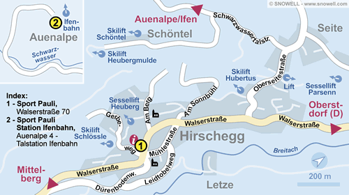 Lageplan Kleinwalsertal - Hirschegg