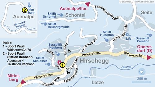 Lageplan Kleinwalsertal/Hirschegg